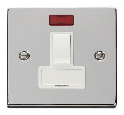 Polished Chrome 13A Fused Connection Unit Switched With Neon - White Trim