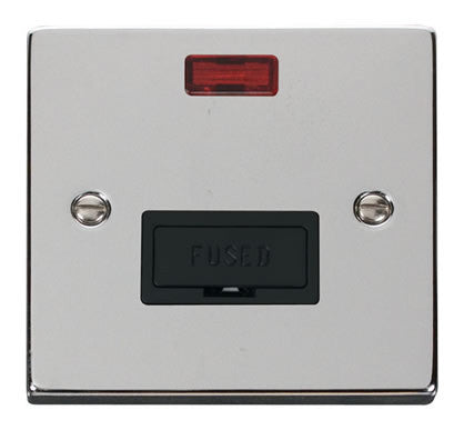Polished Chrome 13A Fused Connection Unit With Neon - Black Trim