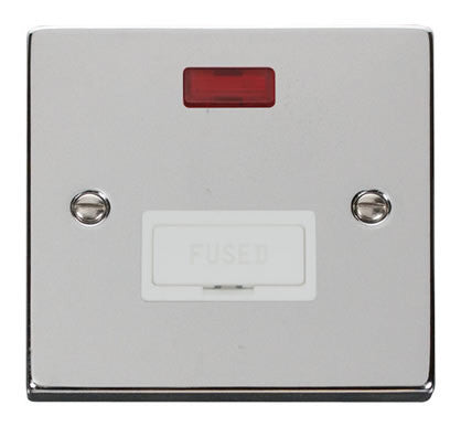 Polished Chrome 13A Fused Connection Unit With Neon - White Trim