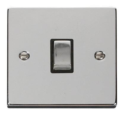 Polished Chrome 1 Gang 20A Ingot DP Switch - Black Trim