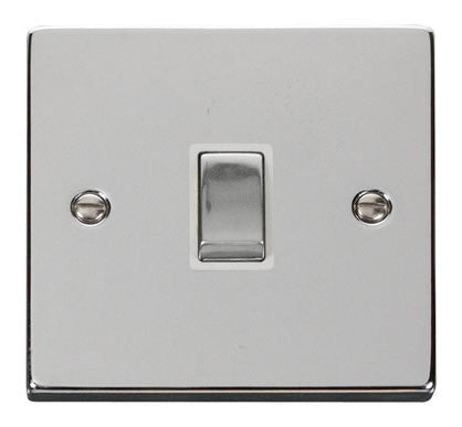 Polished Chrome 1 Gang 20A Ingot DP Switch - White Trim