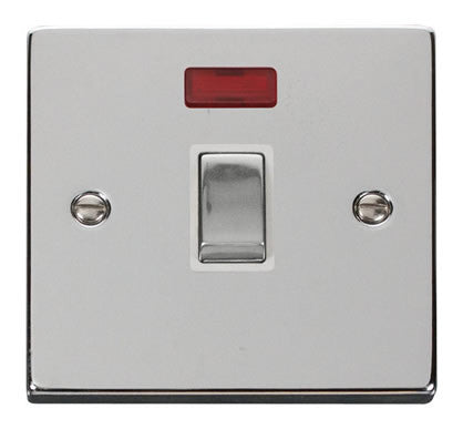Polished Chrome 1 Gang 20A Ingot DP Switch With Neon - White Trim