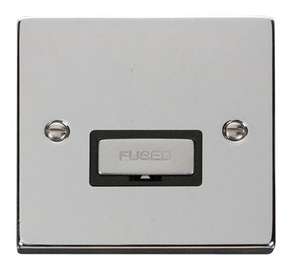 Polished Chrome 13A Fused Ingot Connection Unit - Black Trim