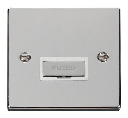 Polished Chrome 13A Fused Ingot Connection Unit - White Trim