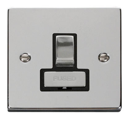 Polished Chrome 13A Fused Ingot Connection Unit Switched - Black Trim