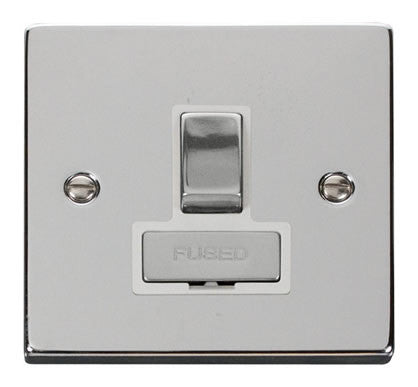 Polished Chrome 13A Fused Ingot Connection Unit Switched - White Trim