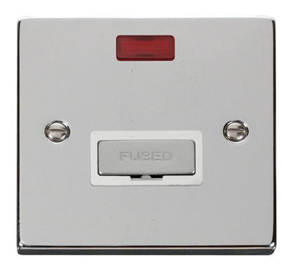 Polished Chrome 13A Fused Ingot Connection Unit With Neon - White Trim