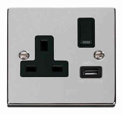 Polished Chrome 1 Gang 13A DP 1 USB Switched Socket - Black