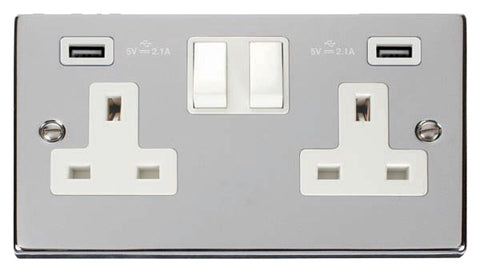 Polished Chrome 2 Gang 13A 2 USB Twin Double Switched Plug Socket - White Trim