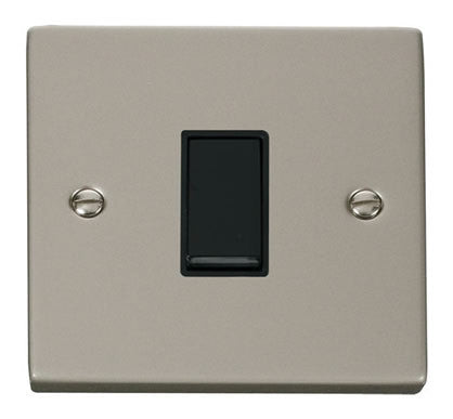 Pearl Nickel 10A 1 Gang 2 Way Light Switch - Black Trim
