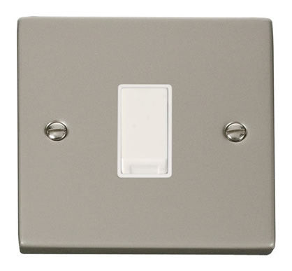 Pearl Nickel 10A 1 Gang 2 Way Light Switch - White Trim