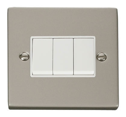 Pearl Nickel 10A 3 Gang 2 Way Light Switch - White Trim