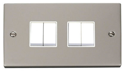 Pearl Nickel 10A 4 Gang 2 Way Light Switch - White Trim