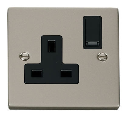 Pearl Nickel 1 Gang 13A DP Switched Plug Socket - Black Trim