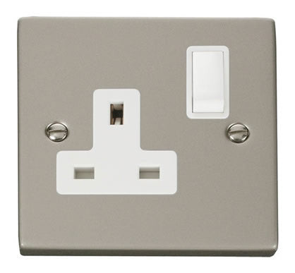 Pearl Nickel 1 Gang 13A DP Switched Plug Socket - White Trim