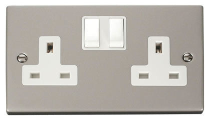 Pearl Nickel 2 Gang 13A Twin Double Switched Plug Socket - White Trim