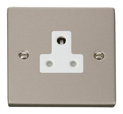 Pearl Nickel 1 Gang 5A Round Pin Socket - White Trim