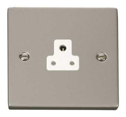 Pearl Nickel 1 Gang 2A Round Pin Socket - White