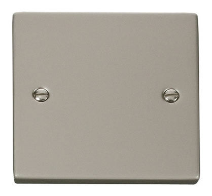 Pearl Nickel 1 Gang Blank Plate - White