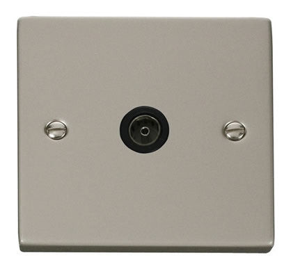 Pearl Nickel 1 Gang Single Coaxial TV Socket - Black Trim