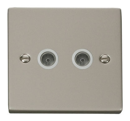 Pearl Nickel 2 Gang Twin Coaxial TV Socket - White Trim