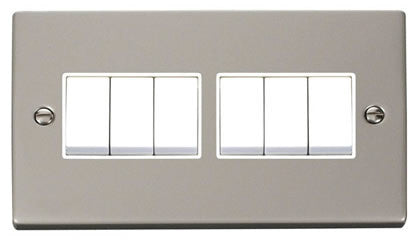 Pearl Nickel 10A 6 Gang 2 Way Light Switch - White Trim