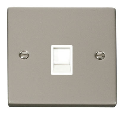 Pearl Nickel Rj11 Socket - White Trim