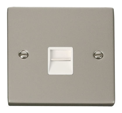 Pearl Nickel Master Telephone Single Socket - White Trim