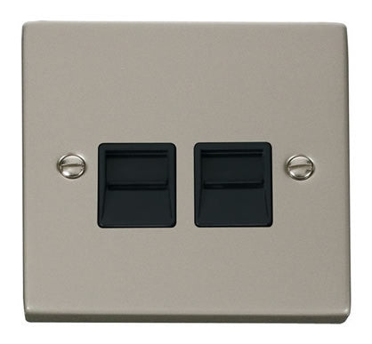 Pearl Nickel Master Telephone Twin Socket - Black Trim