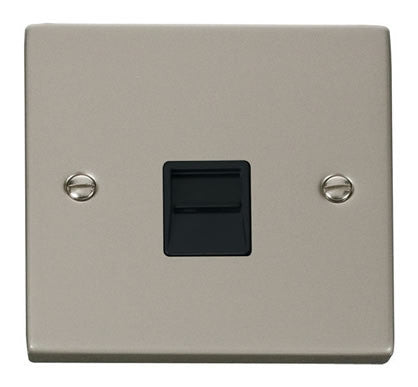 Pearl Nickel Secondary Telephone Single Socket - Black Trim