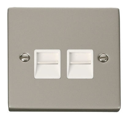 Pearl Nickel Secondary Telephone Twin Socket - White Trim