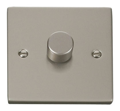 Pearl Nickel 1 Gang 2 Way 400w Dimmer Switch - White