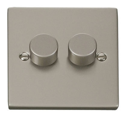 Pearl Nickel 2 Gang 2 Way 400w Dimmer Light Switch