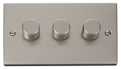 Pearl Nickel 3 Gang 2 Way 400w Dimmer Light Switch