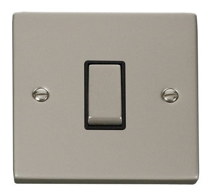 Pearl Nickel 10A 1 Gang 2 Way Ingot Switch - Black Trim