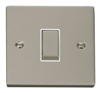 Pearl Nickel 10A 1 Gang 2 Way Ingot Light Switch - White Trim