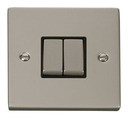 Pearl Nickel 10A 2 Gang 2 Way Ingot Light Switch - Black Trim
