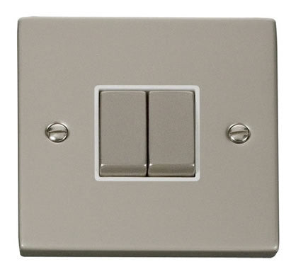 Pearl Nickel 10A 2 Gang 2 Way Ingot Light Switch - White Trim
