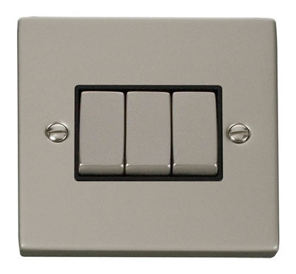 Pearl Nickel 10A 3 Gang 2 Way Ingot Light Switch - Black Trim