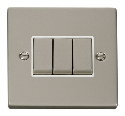 Pearl Nickel 10A 3 Gang 2 Way Ingot Light Switch - White Trim