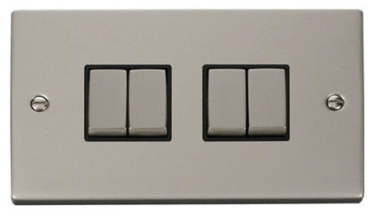 Pearl Nickel 10A 4 Gang 2 Way Ingot Light Switch - Black Trim