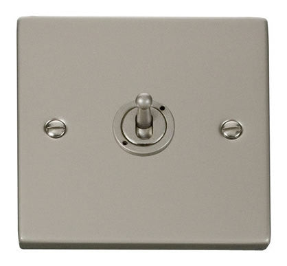 Pearl Nickel 1 Gang 2 Way 10AX Toggle Switch - White