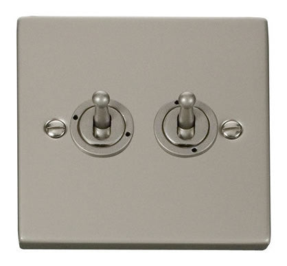 Pearl Nickel 2 Gang 2 Way 10AX Toggle Light Switch
