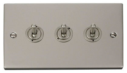 Pearl Nickel 3 Gang 2 Way 10AX Toggle Switch - White