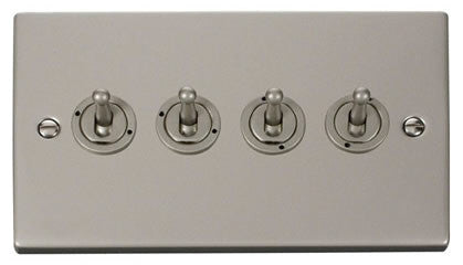 Pearl Nickel 4 Gang 2 Way 10AX Toggle Light Switch