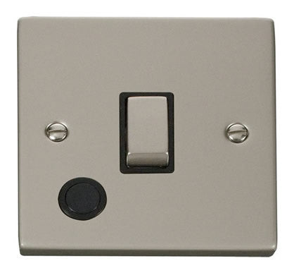Pearl Nickel 1 Gang 20A Ingot DP Switch With Flex - Black