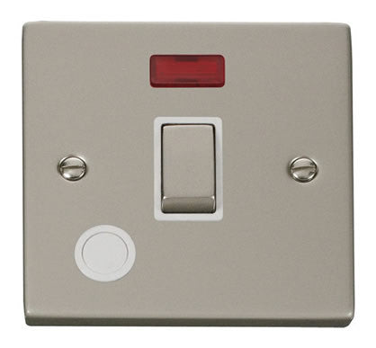 Pearl Nickel 1 Gang 20A Ingot DP Switch With Flex With Neon - White Trim