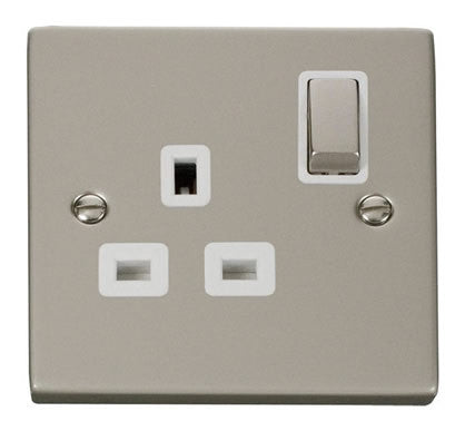 Pearl Nickel 1 Gang 13A DP Ingot Switched Plug Socket - White Trim