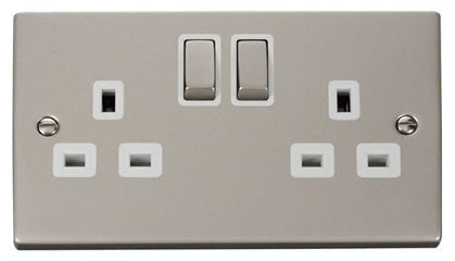 Pearl Nickel 2 Gang 13A DP Ingot Twin Double Switched Socket - White