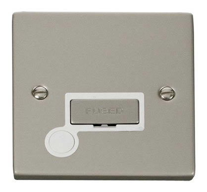 Pearl Nickel 13A Fused Ingot Connection Unit With Flex - White Trim